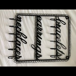 Jewelry holder for wall with hooks